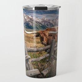 Texas Longhorn Steer with Wood Log Fence in Wyoming Pasture Travel Mug