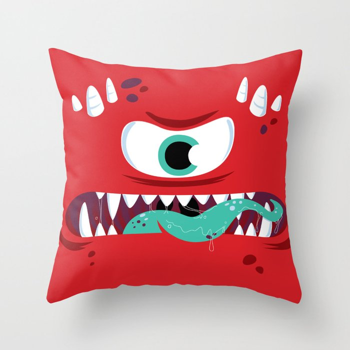 Baddest Red Monster! Throw Pillow