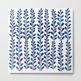 Watercolor blue leaves and red polka dots Metal Print