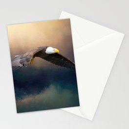 Painting flying american bald eagle Stationery Cards