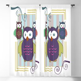 Striped Owls Blackout Curtain