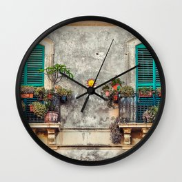 Italy Photography - Italian Balconies Covered In Plants Wall Clock
