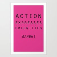 Action Gandhi Quote Art Print