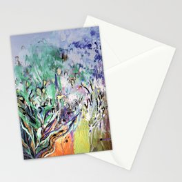 Expressionist, lavande garden painting, multicolor, abstract, surrealist. Stationery Cards