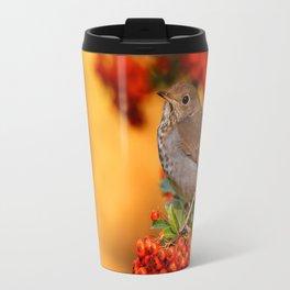 Hermit Thrush on the Scarlet Firethorn Travel Mug