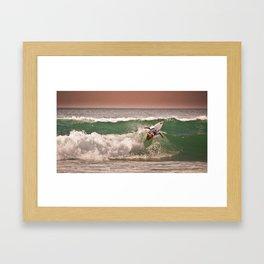 Jeremy Flores, Surfing during world tour of surf Framed Art Print
