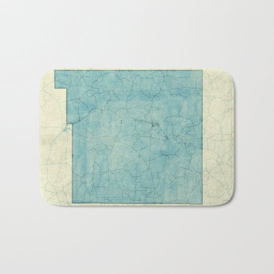 New Mexico State Map Blue Vintage Bath Mat
