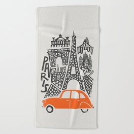 Paris Cityscape Beach Towel