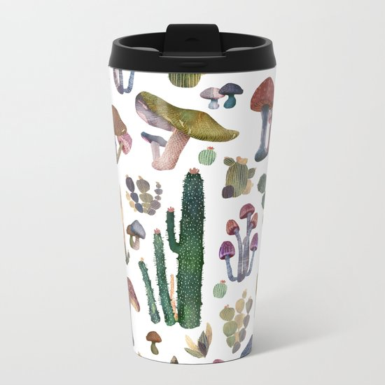 Cactus and Mushrooms NEW!!! Metal Travel Mug