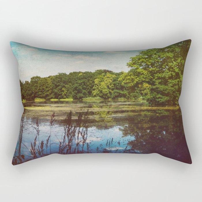 Summer Lake Landscape Rectangular Pillow