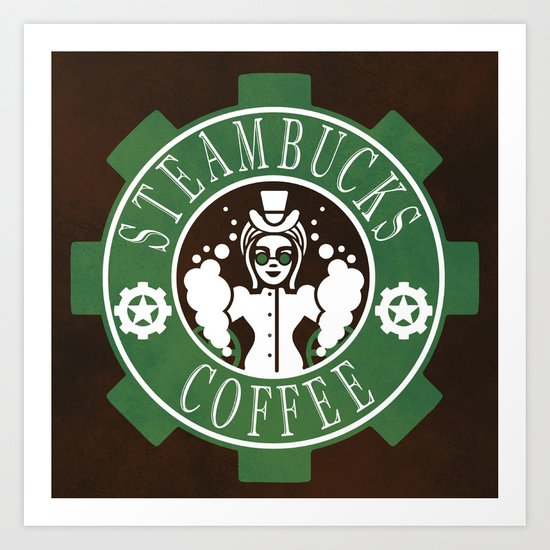 Steambucks Coffee Art Print