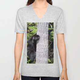 Baby Bear in a Tree Unisex V-Neck