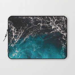 Wavy foamy blue black ombre sea water Laptop Sleeve