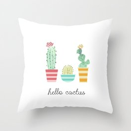 Hello Cactus Throw Pillow