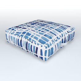 Shibori Braid Vivid Indigo Blue and White Outdoor Floor Cushion