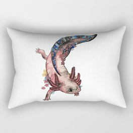 Cherry Blossom Axolotl Watercolor Artwork Rectangular Pillow