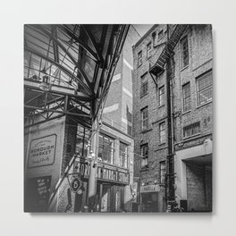 The industrial vintage Borough Market | London | Black & White Photo | Travel & Street Photography  Metal Print