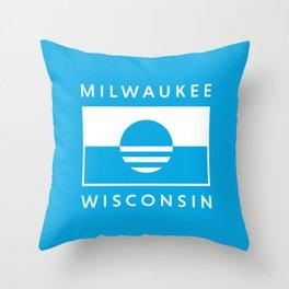 Milwaukee Wisconsin - Cyan - People's Flag of Milwaukee Throw Pillow