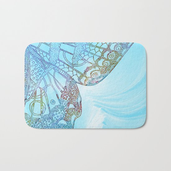 Colorful Abstract Butterfly Design Bath Mat