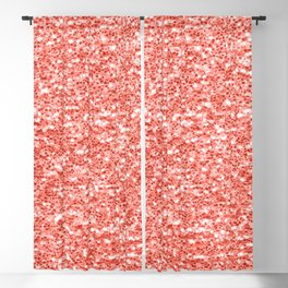 Living coral dark glitter sparkles Blackout Curtain
