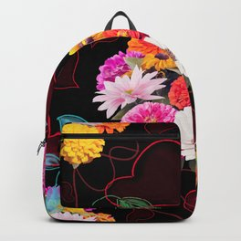 seamless floral pattern with hearts and leaves Backpack
