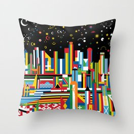Flagscapes: World Cityscape Throw Pillow