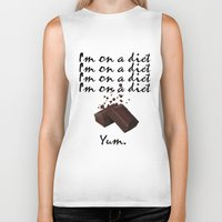 chocolate Biker Tanks featuring Chocolate by Thomsky
