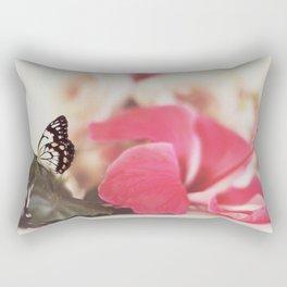 Black Butterfly Pink Flower Rectangular Pillow