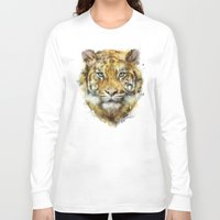 tiger Long Sleeve T-shirts featuring Tiger // Strength by Amy Hamilton