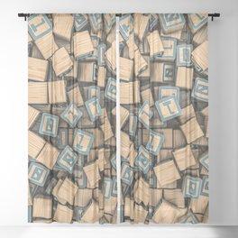 Binary blocks Sheer Curtain