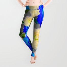 CHARCOAL GREY DECORATIVE WHITE & BLUE ROSE GARDEN Leggings
