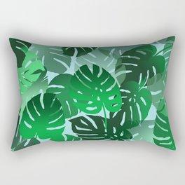 Green Big Monstera Leaves - blue Rectangular Pillow