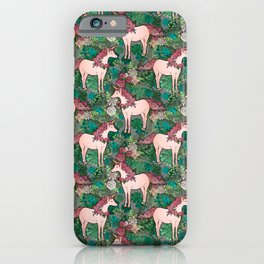 Rose Gold Unicorn in a Garden iPhone Case