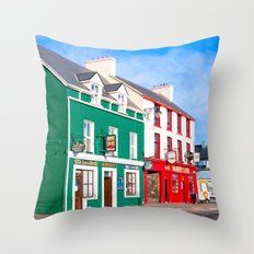 Walking The Colorful Streets Of Dingle Ireland Throw Pillow
