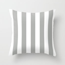Silver foil grey - solid color - white vertical lines pattern Throw Pillow