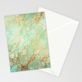 Marble effect blue and gold Stationery Cards
