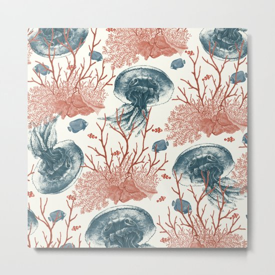 Aquatic Pattern Metal Print