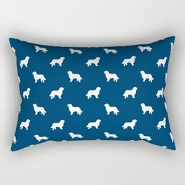 Bernese Mountain Dog pet silhouette dog breed minimal navy and white pattern Rectangular Pillow