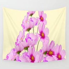 FUCHSIA PINK COSMOS FLOWERS  ON CREAM Wall Tapestry
