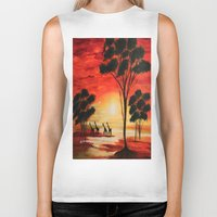 african Biker Tanks featuring African sunset by maggs326