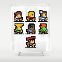 street fighter Shower Curtains featuring Minimalistic - Street Fighter - Pixel Art by Davit Masia