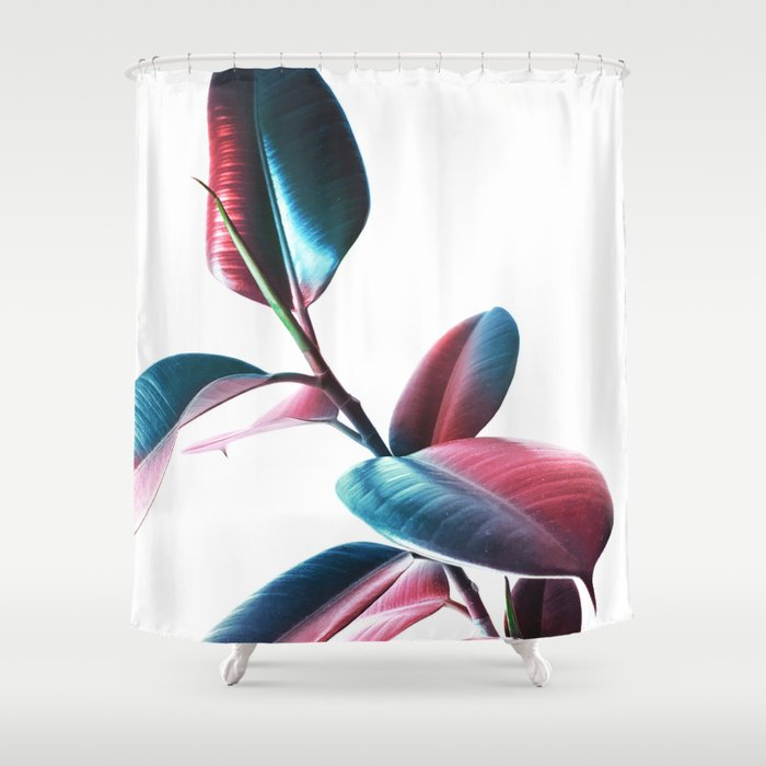 Colourful Rubber Leaves Shower Curtain