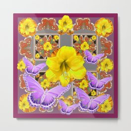LILAC BUTTERFLIES & YELLOW AMARYLLIS FLOWERS Metal Print