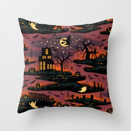 Halloween Night - Bonfire Glow Throw Pillow