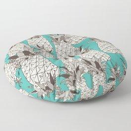 pineapple turquoise sea Floor Pillow