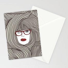 Long Hair Woman Stationery Cards
