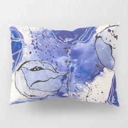 Blue and White Splotch Flowers Pillow Sham