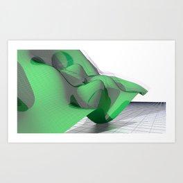 Waving Math Surface Green Art Print