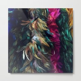 Girls Night Out Feather Boas Metal Print