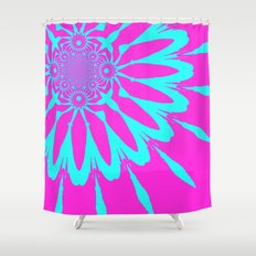The Modern Flower Fushia & Turquoise Shower Curtain